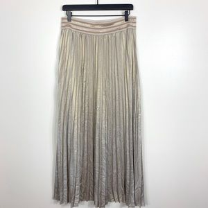 {HD in Paris} Gold Pleated Mica Maxi Skirt Medium